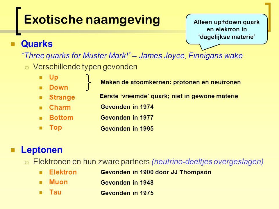De elementaire bouwstenen Quarks Leptonen 2/3 - 1/3 0 1st generatie2nd generatie Anno 2005: De elementaire deeltjes bij elkaar 3rd generatie 2/3 - 1/3