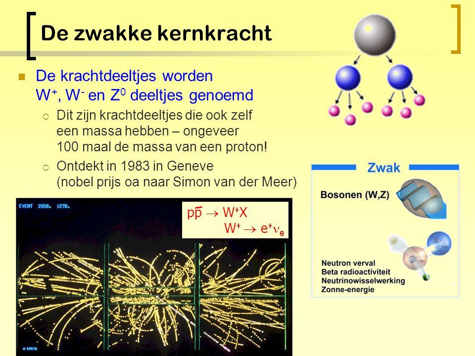 Nog een kernkracht! Quarks en leptonen kunnen vervallen: dwz: zij veranderen van type  Bv top-quark vervalt in bottom quark etc… Quarks en leptonen m