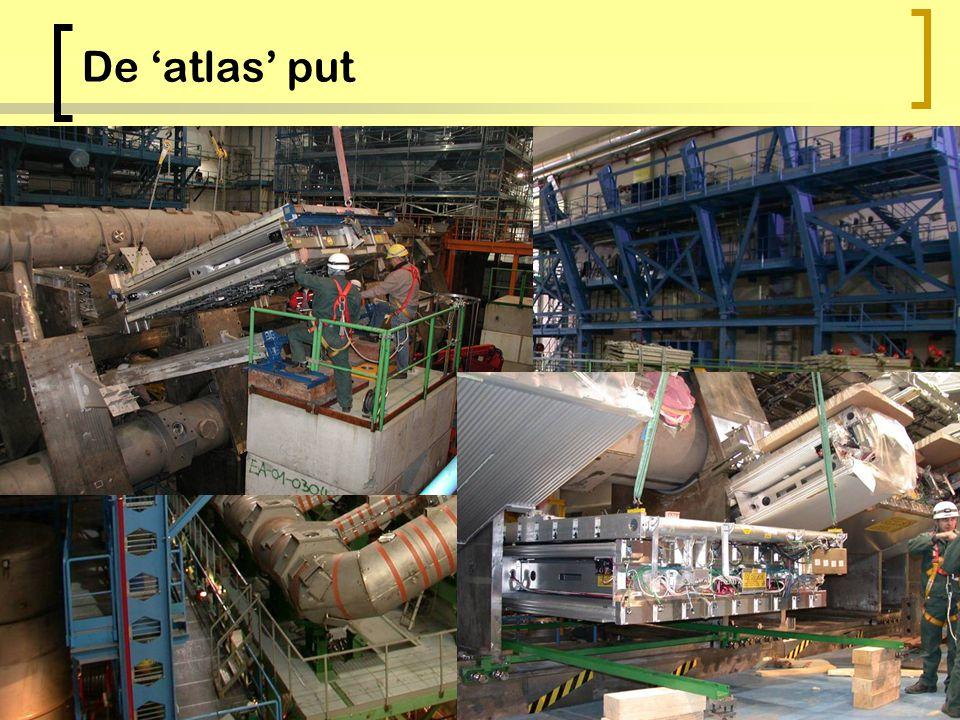 ATLAS: het experiment 10 8 Electronische kanalen ~7000 tGewicht 22 mDiameter 44 mLengte ~ 150 instituten ~1800 natuurkundigen