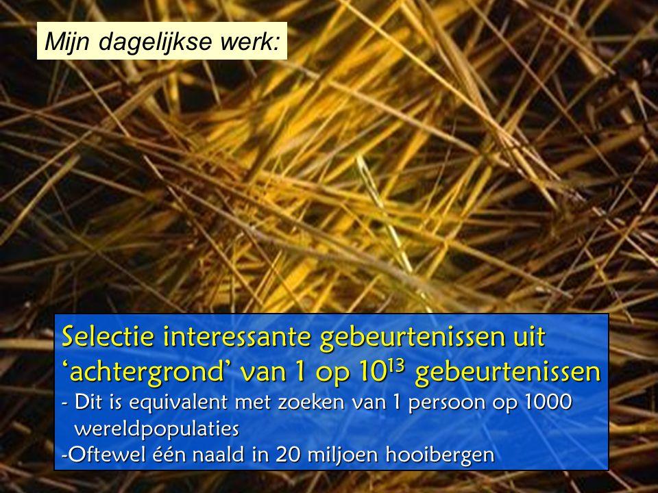 Meting van de knallen Zachte botsingen 10 8 W ±  e ± 15 Z 0  e + e - 1 Top-anti-top quarks1 bb  +X10 3 QCD jets, p T >150 GeV10 2 Productie per se