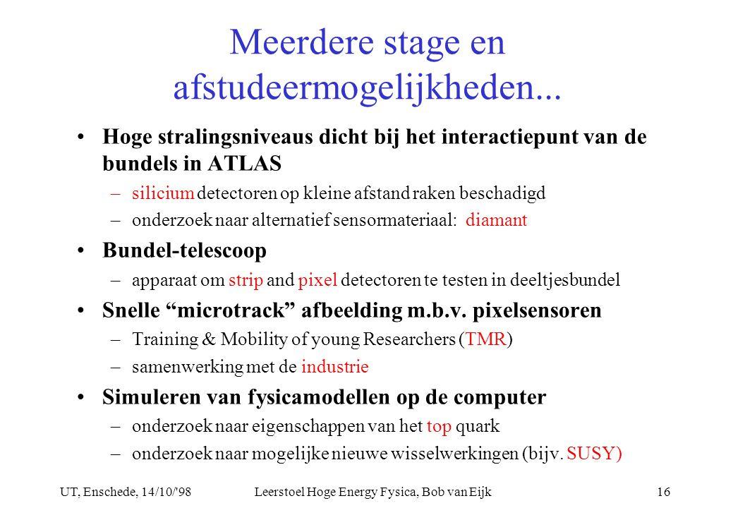 UT, Enschede, 14/10/ 98Leerstoel Hoge Energy Fysica, Bob van Eijk16 Meerdere stage en afstudeermogelijkheden...