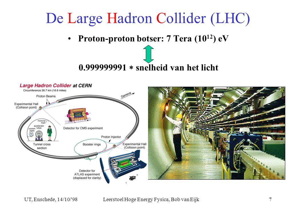 UT, Enschede, 14/10/ 98Leerstoel Hoge Energy Fysica, Bob van Eijk7 De Large Hadron Collider (LHC) Proton-proton botser: 7 Tera (10 12 ) eV 0.999999991  snelheid van het licht