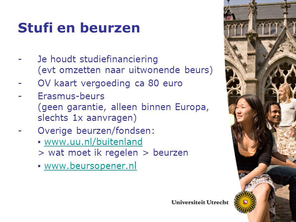 Stufi en beurzen -Je houdt studiefinanciering (evt omzetten naar uitwonende beurs) -OV kaart vergoeding ca 80 euro -Erasmus-beurs (geen garantie, alle