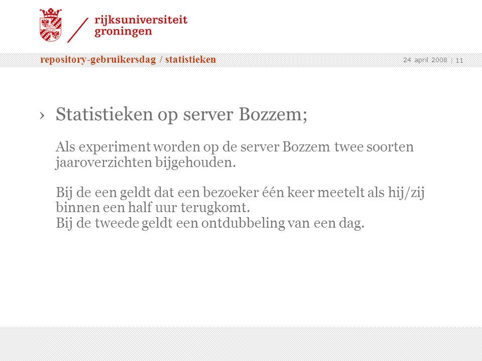 repository-gebruikersdag / statistieken 24 april 2008 | 11 ›Statistieken op server Bozzem; Als experiment worden op de server Bozzem twee soorten jaaroverzichten bijgehouden.