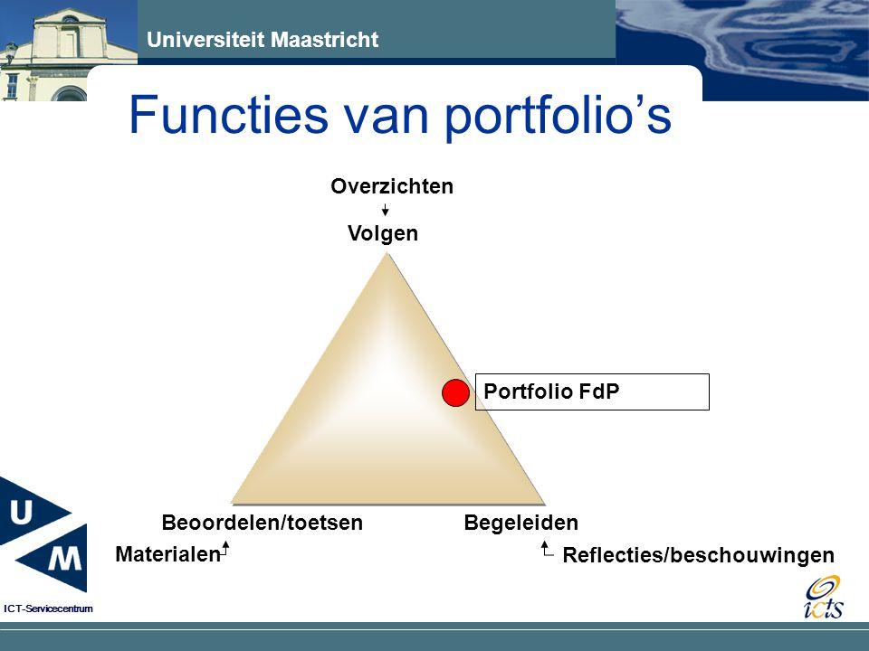 Universiteit Maastricht ICT-Servicecentrum Functies van portfolio's Volgen Beoordelen/toetsen Materialen Begeleiden Reflecties/beschouwingen Overzichten Portfolio FdP