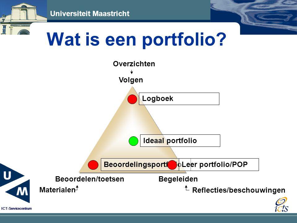 Universiteit Maastricht ICT-Servicecentrum Wat is een portfolio? Volgen Beoordelen/toetsen Materialen Begeleiden Reflecties/beschouwingen Overzichten
