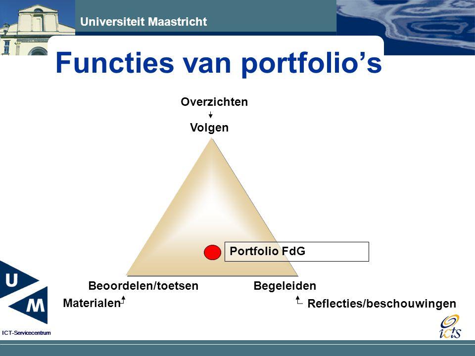 Universiteit Maastricht ICT-Servicecentrum Eenvoudig verbanden leggen tussen verschillende elementen portfolio door gebruik van hyperlinks E-portfolio is compact: makkelijk te bewaren en transporteren Grote variëteit aan opname bewijsmateriaal E-portfolio kan tegelijkertijd door meerdere mensen worden bekeken Studenten vinden werken met e-portfolio's leuk Werken met e-portfolio stimuleert ontwikkeling ICTvaardigheden van studenten en docenten Neiging tot compactheid en gestructureerdheid: voordeel voor beoordelaars Waarom e-portfolio's ?