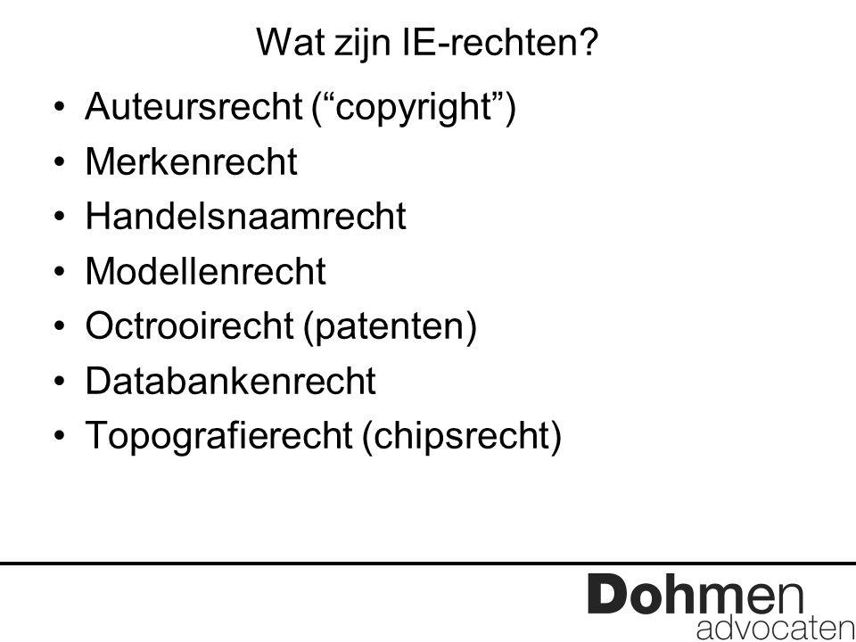 """Wat zijn IE-rechten? Auteursrecht (""""copyright"""") Merkenrecht Handelsnaamrecht Modellenrecht Octrooirecht (patenten) Databankenrecht Topografierecht (ch"""