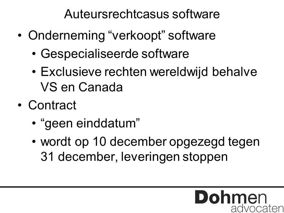 """Auteursrechtcasus software Onderneming """"verkoopt"""" software Gespecialiseerde software Exclusieve rechten wereldwijd behalve VS en Canada Contract """"geen"""