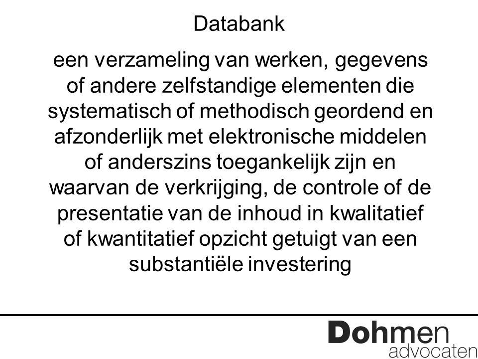 Databank een verzameling van werken, gegevens of andere zelfstandige elementen die systematisch of methodisch geordend en afzonderlijk met elektronisc