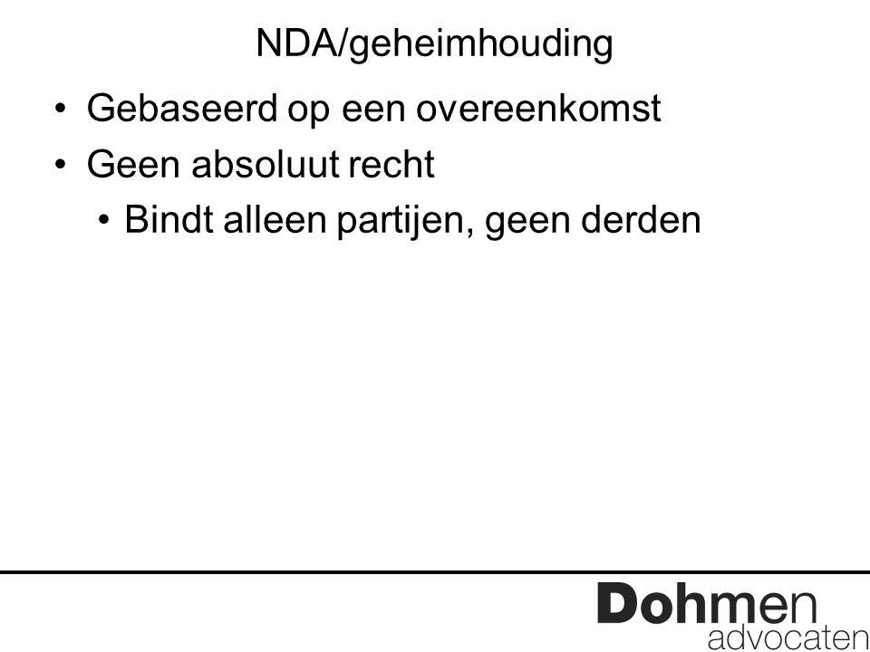 NDA/geheimhouding Gebaseerd op een overeenkomst Geen absoluut recht Bindt alleen partijen, geen derden