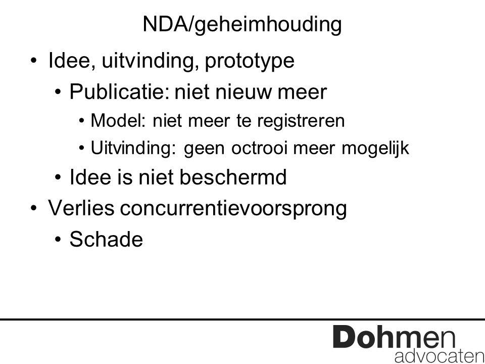 NDA/geheimhouding Idee, uitvinding, prototype Publicatie: niet nieuw meer Model: niet meer te registreren Uitvinding: geen octrooi meer mogelijk Idee