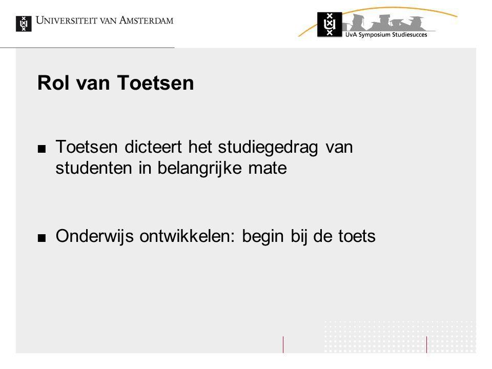 Rol van Toetsen Toetsen dicteert het studiegedrag van studenten in belangrijke mate Onderwijs ontwikkelen: begin bij de toets
