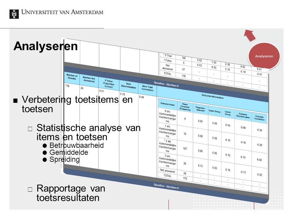 Analyseren Verbetering toetsitems en toetsen  Statistische analyse van items en toetsen  Betrouwbaarheid  Gemiddelde  Spreiding  Rapportage van t