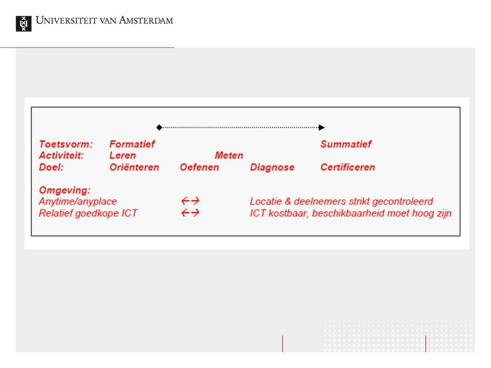Analyseren Verbetering toetsitems en toetsen  Statistische analyse van items en toetsen  Betrouwbaarheid  Gemiddelde  Spreiding  Rapportage van toetsresultaten
