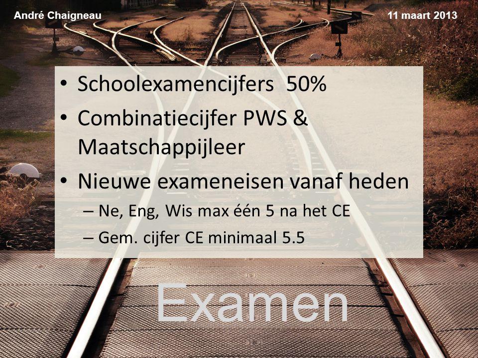 Examen André Chaigneau Schoolexamencijfers 50% Combinatiecijfer PWS & Maatschappijleer Nieuwe exameneisen vanaf heden – Ne, Eng, Wis max één 5 na het