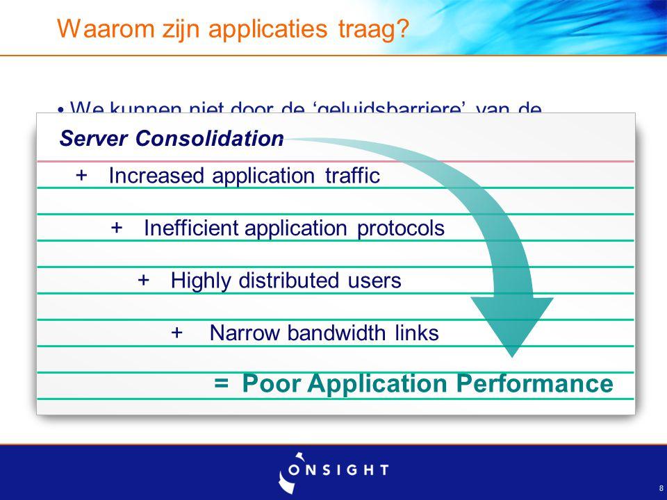 8 Waarom zijn applicaties traag? We kunnen niet door de 'geluidsbarriere' van de natuurwetten Applicaties zijn ontwikkeld voor LAN niet WAN Hoeveelhei