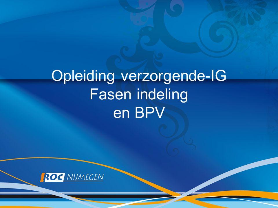 Opleiding verzorgende-IG Fasen indeling en BPV