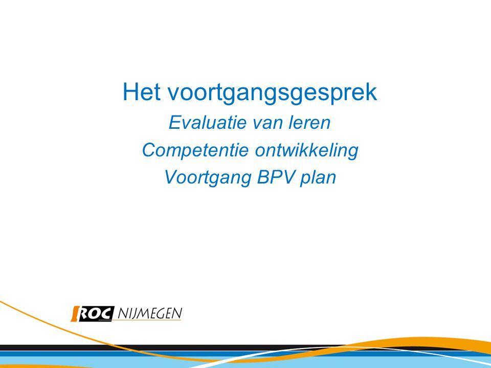 Het voortgangsgesprek Evaluatie van leren Competentie ontwikkeling Voortgang BPV plan