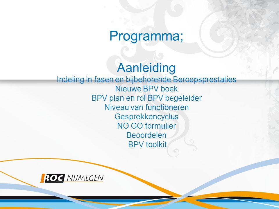 Programma; Programma; Aanleiding Indeling in fasen en bijbehorende Beroepsprestaties Nieuwe BPV boek BPV plan en rol BPV begeleider Niveau van functio