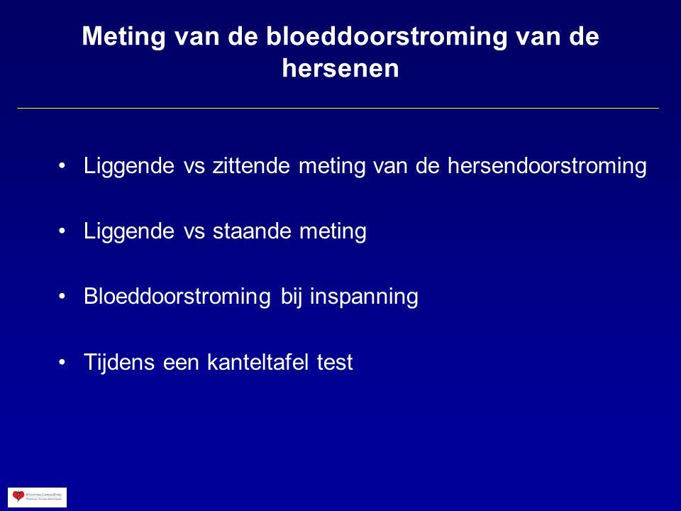 Meting van de bloeddoorstroming van de hersenen Liggende vs zittende meting van de hersendoorstroming Liggende vs staande meting Bloeddoorstroming bij inspanning Tijdens een kanteltafel test