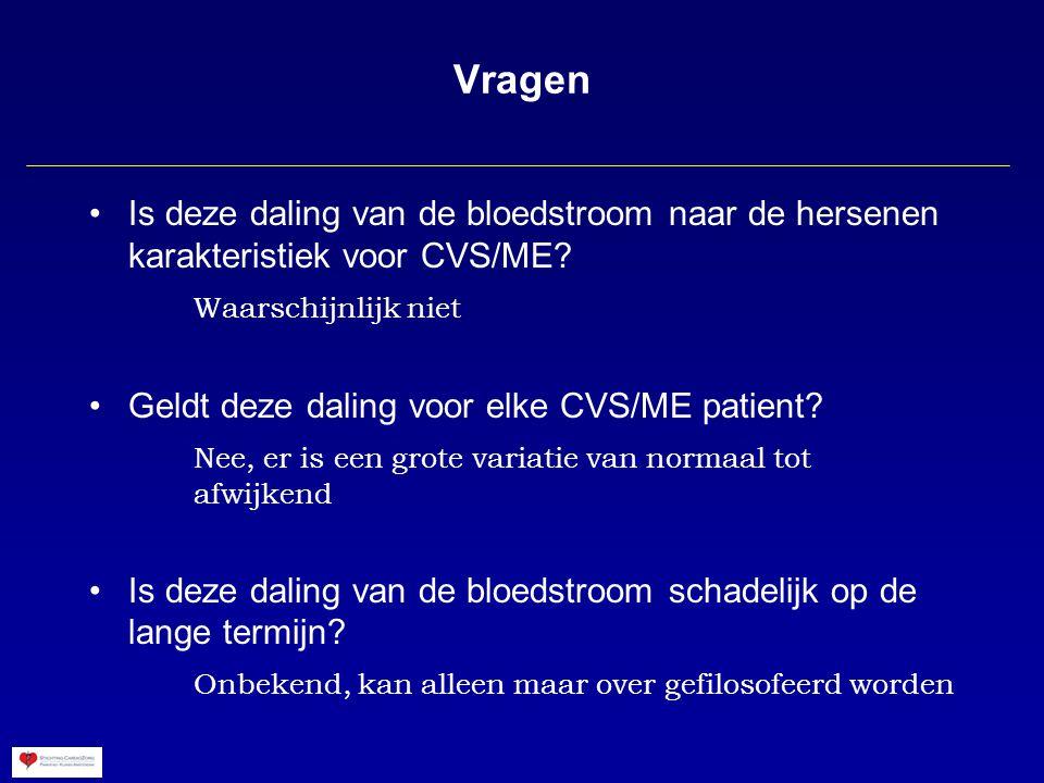 Vragen Is deze daling van de bloedstroom naar de hersenen karakteristiek voor CVS/ME.