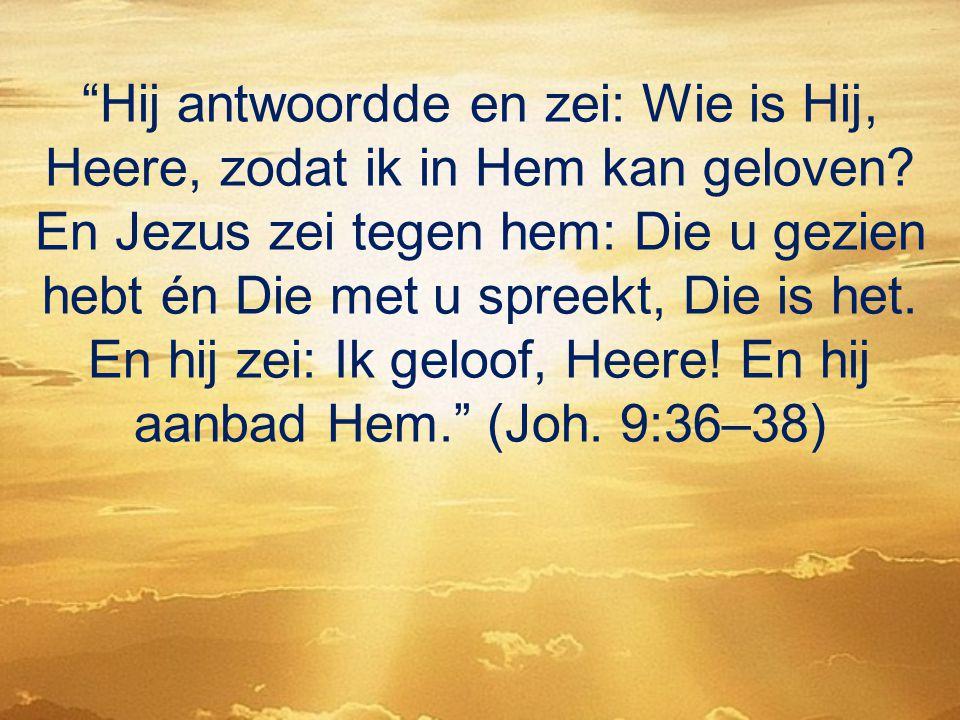"""""""Hij antwoordde en zei: Wie is Hij, Heere, zodat ik in Hem kan geloven? En Jezus zei tegen hem: Die u gezien hebt én Die met u spreekt, Die is het. En"""