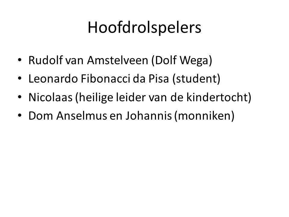 Hoofdrolspelers Rudolf van Amstelveen (Dolf Wega) Leonardo Fibonacci da Pisa (student) Nicolaas (heilige leider van de kindertocht) Dom Anselmus en Jo