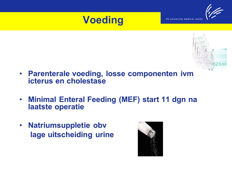 Voeding Parenterale voeding, losse componenten ivm icterus en cholestase Minimal Enteral Feeding (MEF) start 11 dgn na laatste operatie Natriumsupplet