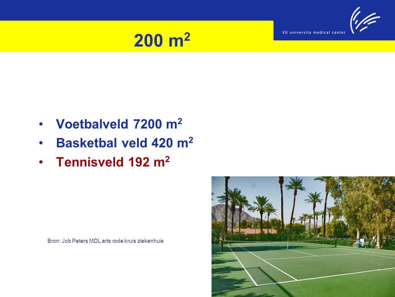 200 m 2 Voetbalveld 7200 m 2 Basketbal veld 420 m 2 Tennisveld 192 m 2 Bron: Job Peters MDL arts rode kruis ziekenhuis