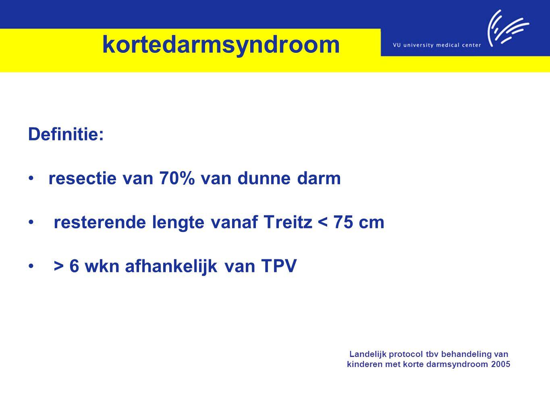 kortedarmsyndroom Definitie: resectie van 70% van dunne darm resterende lengte vanaf Treitz < 75 cm > 6 wkn afhankelijk van TPV Landelijk protocol tbv