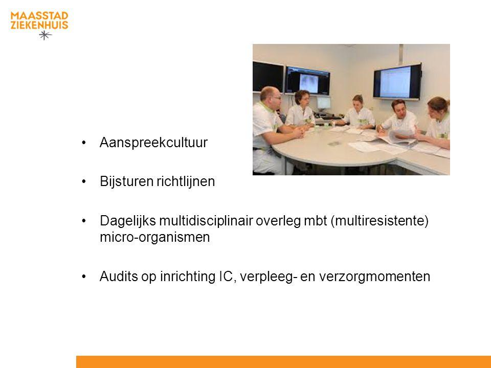Aanspreekcultuur Bijsturen richtlijnen Dagelijks multidisciplinair overleg mbt (multiresistente) micro-organismen Audits op inrichting IC, verpleeg- e