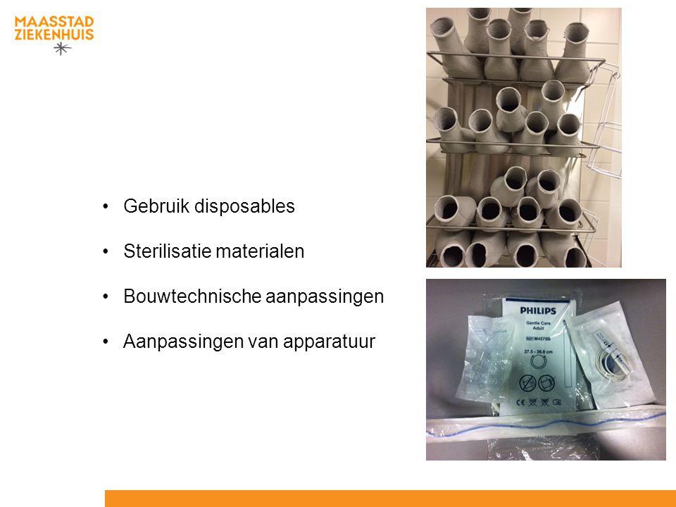 Gebruik disposables Sterilisatie materialen Bouwtechnische aanpassingen Aanpassingen van apparatuur