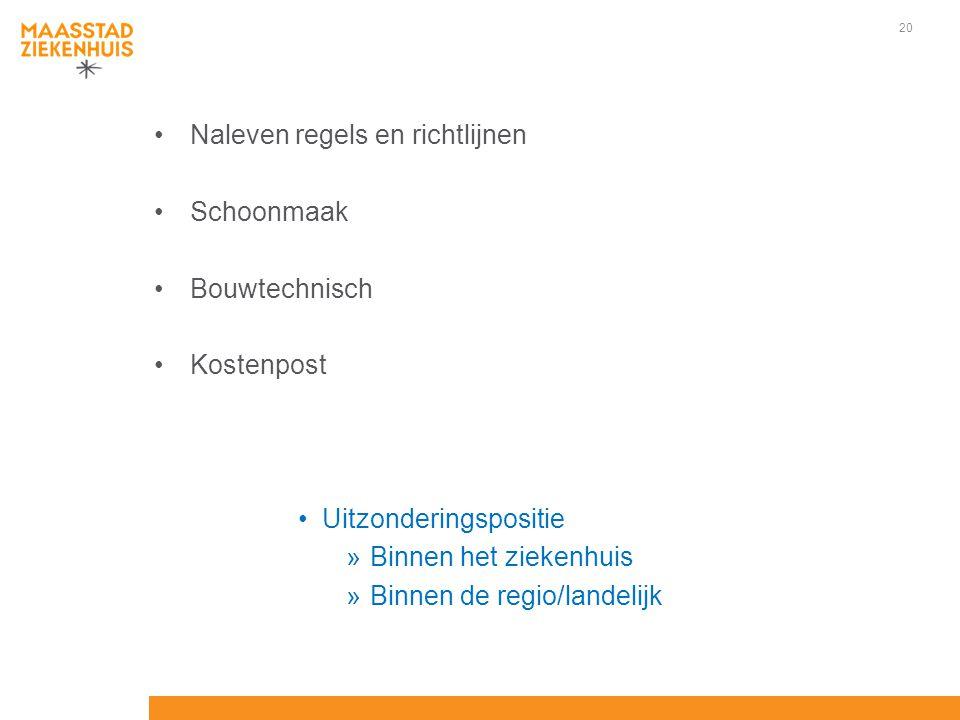 20 Naleven regels en richtlijnen Schoonmaak Bouwtechnisch Kostenpost Uitzonderingspositie »Binnen het ziekenhuis »Binnen de regio/landelijk