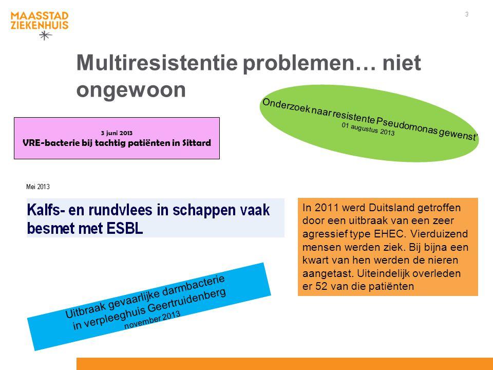 3 Multiresistentie problemen… niet ongewoon In 2011 werd Duitsland getroffen door een uitbraak van een zeer agressief type EHEC. Vierduizend mensen we