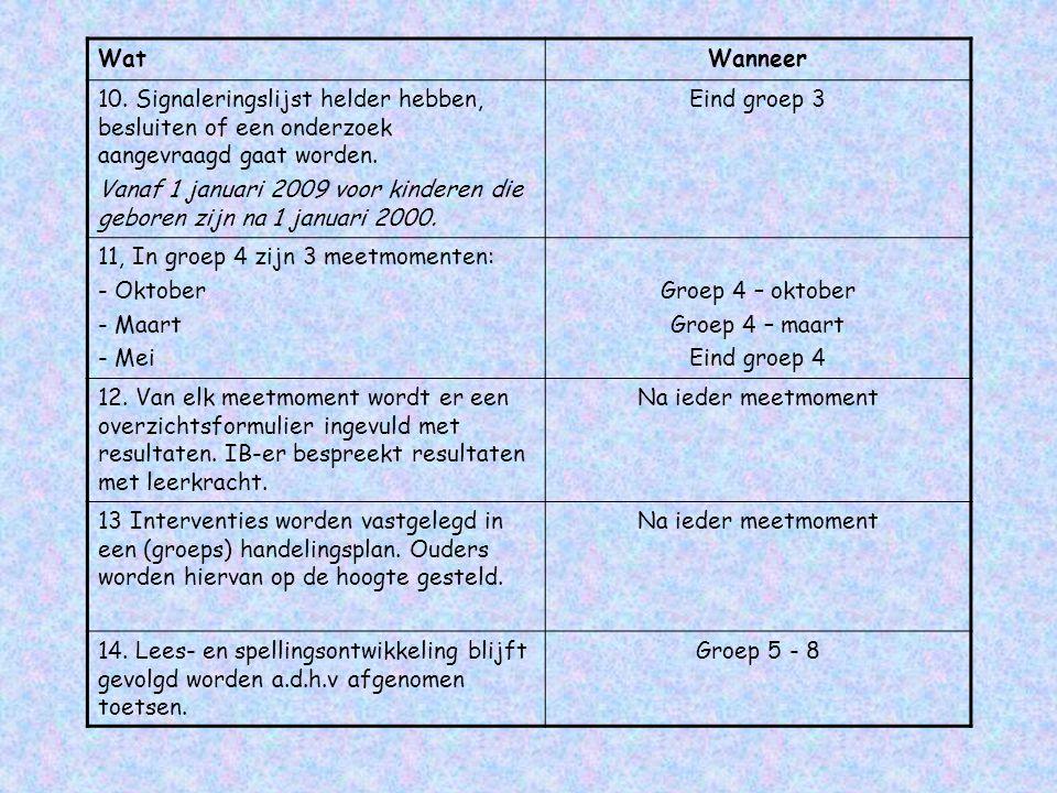 WatWanneer 10. Signaleringslijst helder hebben, besluiten of een onderzoek aangevraagd gaat worden. Vanaf 1 januari 2009 voor kinderen die geboren zij