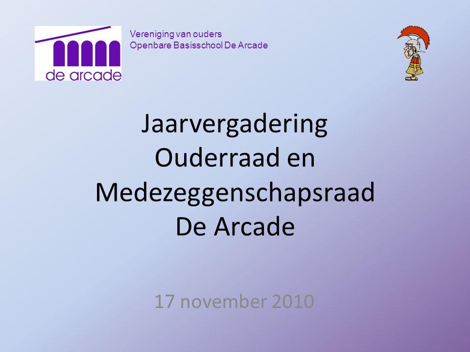 Vereniging van ouders Openbare Basisschool De Arcade Jaarvergadering Ouderraad en Medezeggenschapsraad De Arcade 17 november 2010