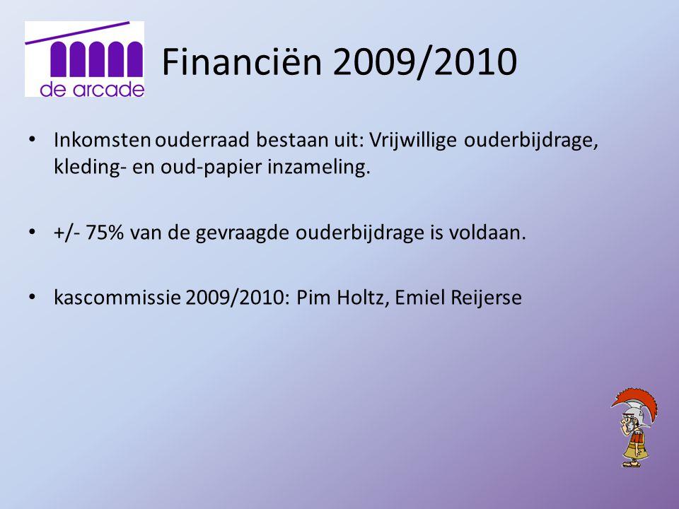 Financiën 2009/2010 Inkomsten ouderraad bestaan uit: Vrijwillige ouderbijdrage, kleding- en oud-papier inzameling. +/- 75% van de gevraagde ouderbijdr