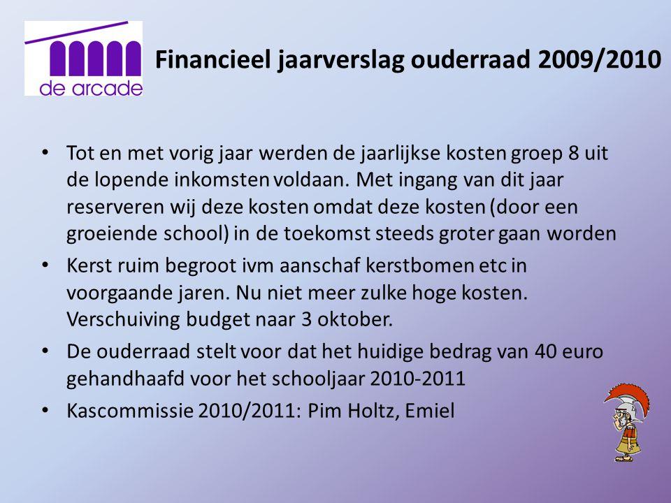Financieel jaarverslag ouderraad 2009/2010 Tot en met vorig jaar werden de jaarlijkse kosten groep 8 uit de lopende inkomsten voldaan. Met ingang van