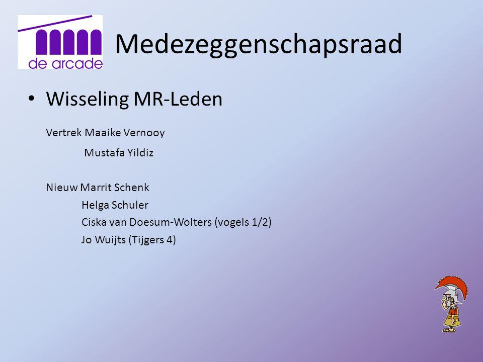 Medezeggenschapsraad Wisseling MR-Leden Vertrek Maaike Vernooy Mustafa Yildiz Nieuw Marrit Schenk Helga Schuler Ciska van Doesum-Wolters (vogels 1/2)