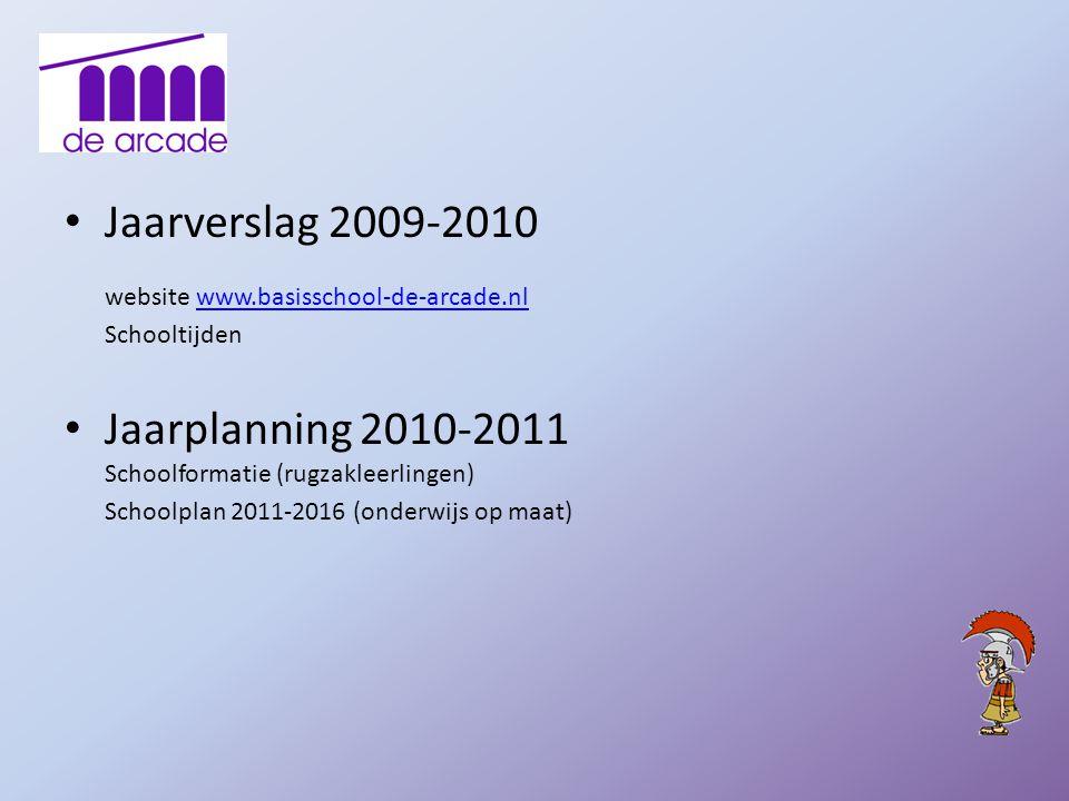 Jaarverslag 2009-2010 website www.basisschool-de-arcade.nl Schooltijdenwww.basisschool-de-arcade.nl Jaarplanning 2010-2011 Schoolformatie (rugzakleerl