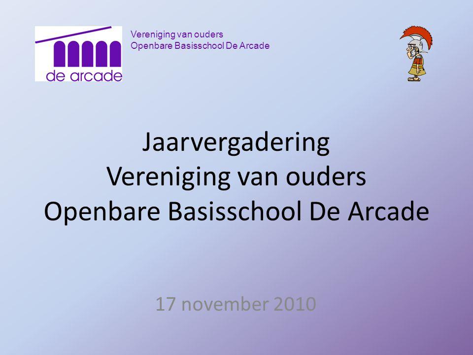 Vereniging van ouders Openbare Basisschool De Arcade Jaarvergadering Vereniging van ouders Openbare Basisschool De Arcade 17 november 2010