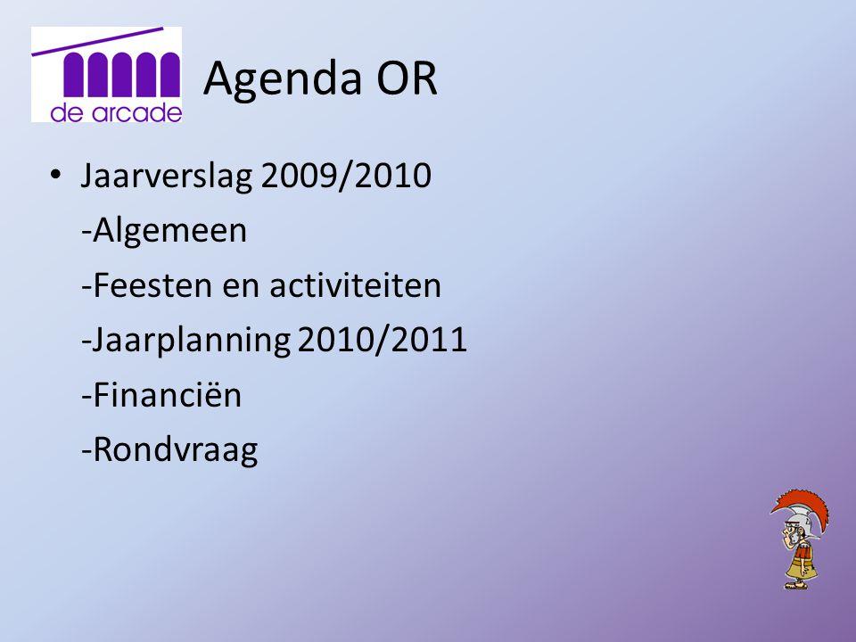 Agenda OR Jaarverslag 2009/2010 -Algemeen -Feesten en activiteiten -Jaarplanning 2010/2011 -Financiën -Rondvraag