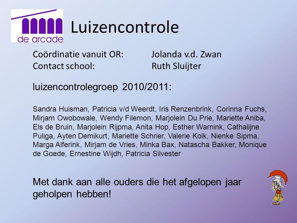 Luizencontrole Coördinatie vanuit OR: Jolanda v.d. Zwan Contact school: Ruth Sluijter luizencontrolegroep 2010/2011: Sandra Huisman, Patricia v/d Weer