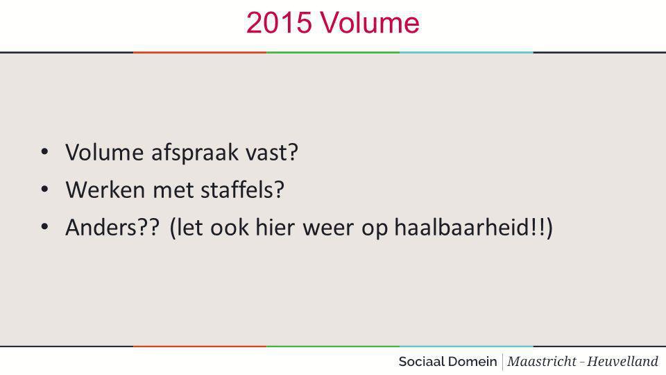 2015 Volume Volume afspraak vast.Werken met staffels.