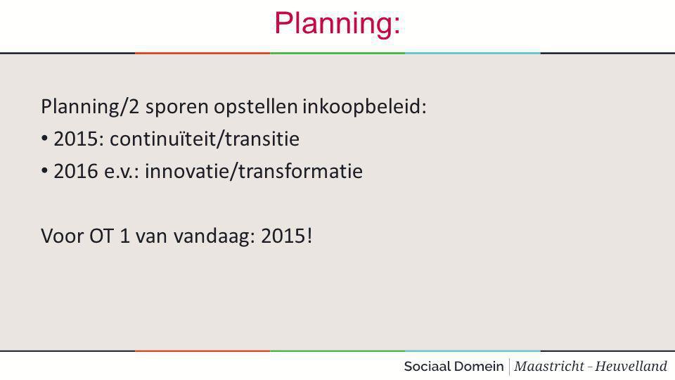 Planning: Planning/2 sporen opstellen inkoopbeleid: 2015: continuïteit/transitie 2016 e.v.: innovatie/transformatie Voor OT 1 van vandaag: 2015!