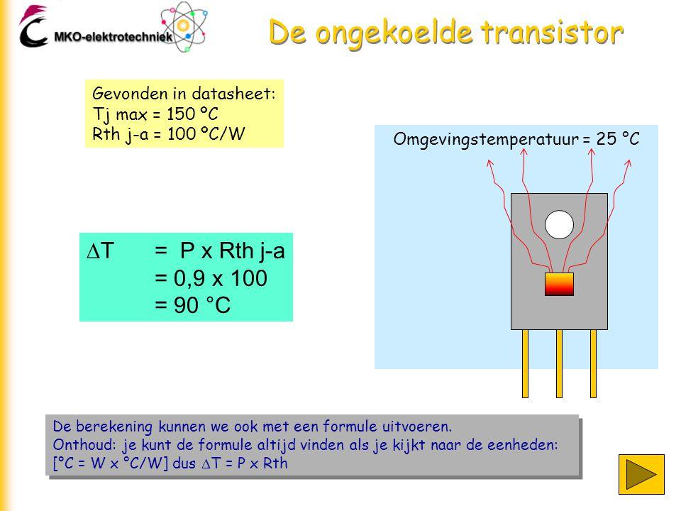 Omgevingstemperatuur = 25 °C De ongekoelde transistor De berekening kunnen we ook met een formule uitvoeren.