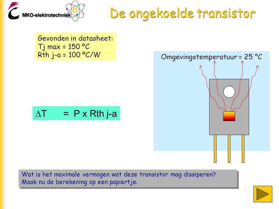 Omgevingstemperatuur = 25 °C De ongekoelde transistor Wat is het maximale vermogen wat deze transistor mag dissiperen.