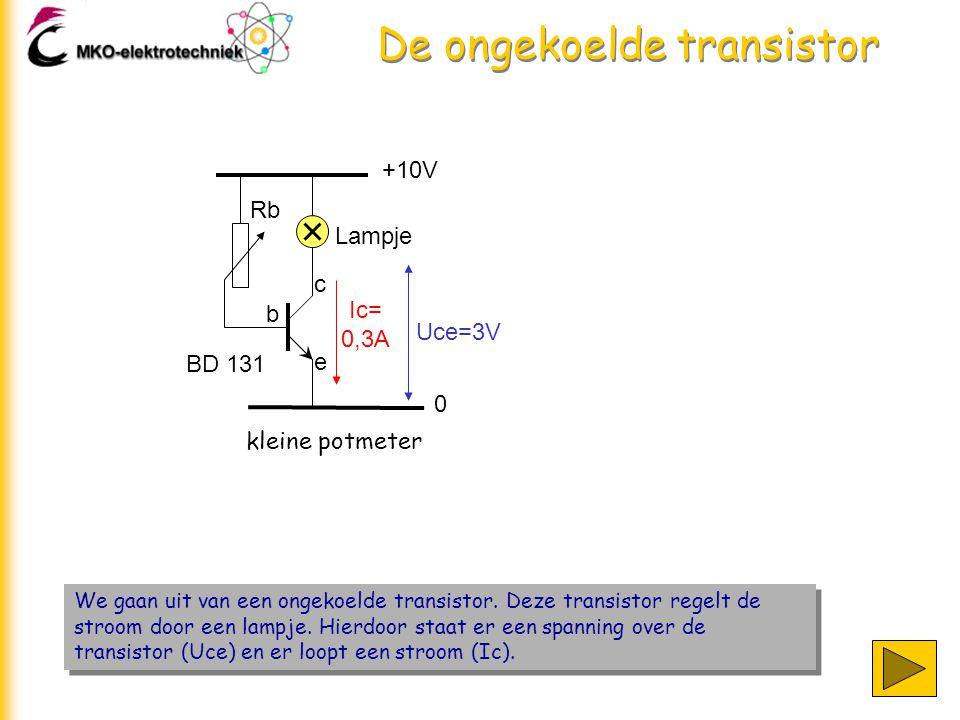 +10V 0 Lampje Rb b c e kleine potmeter We gaan uit van een ongekoelde transistor. Deze transistor regelt de stroom door een lampje. Hierdoor staat er