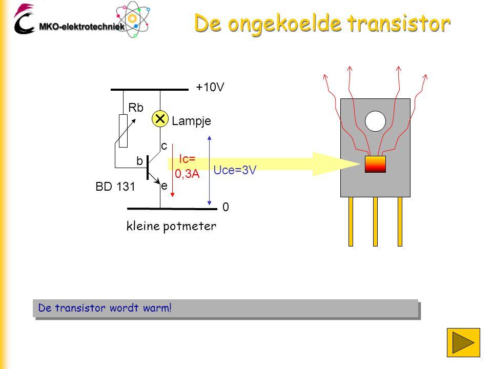 De ongekoelde transistor +10V 0 Lampje Rb b c e kleine potmeter De transistor wordt warm! Ic= 0,3A Uce=3V BD 131